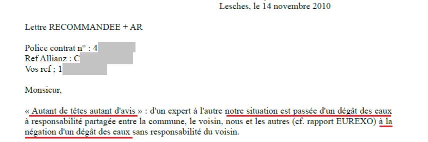 Extrait courrier ALLIANZ : avis dépend de l'expert d'assurance pas de la réalité technique.