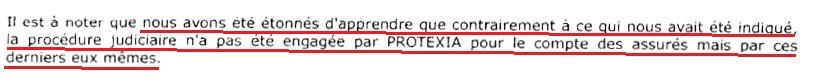 Finalement, l'expert ELEX apprend qu'ALLIANZ et PROTEXIA ne sont pas dans le procès, cela ne lui confirme pas que nous ne les avions donc pas 'conviés'.